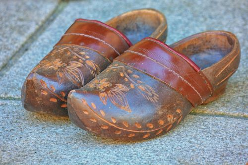 Wooden And Leather Clogs