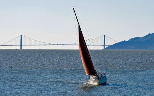 sailboat san francisco bay red sail