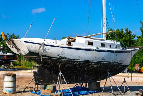 sailboat  dry dock  wooden