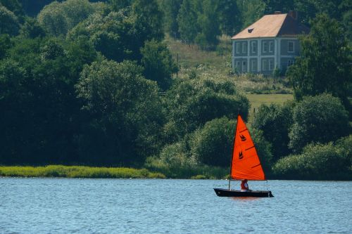 sailing boat red sails lipno
