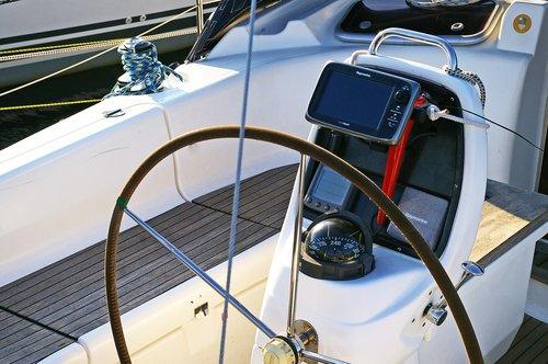 sailing boat  steering wheel  control