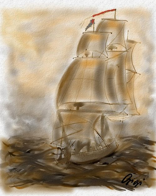 sailing ship painted with mouse art