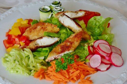 salad  salad plate  chicken breast