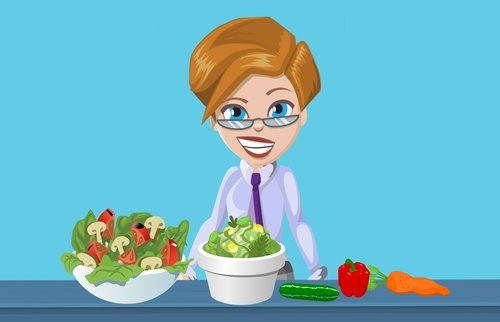 salad  vegetables  woman