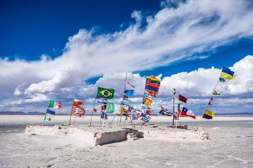 salar de uyuni bolivia flags