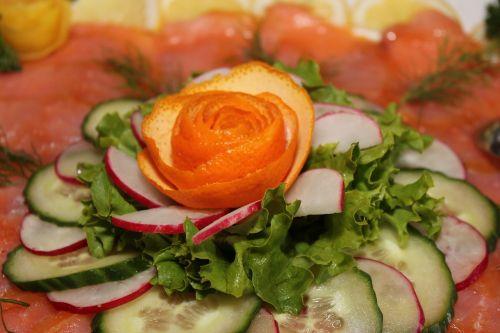 salmon salad cold buffet