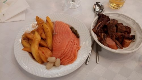 salmon vegetables sausage