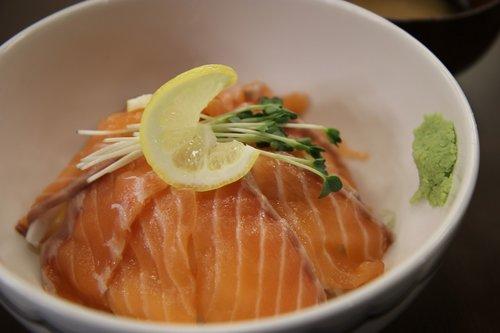salmon  rice  food
