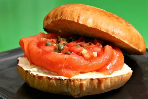 salmon cream cheese sandwich food bread