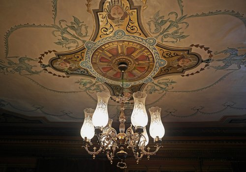 salon  cover painting  chandelier