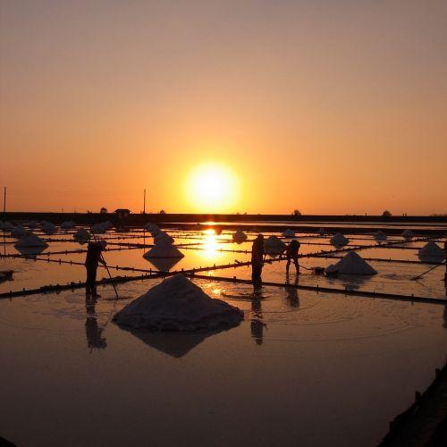 salt pan sunset sky