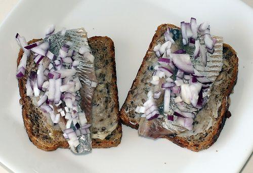 salted herring fillet herring rye bread