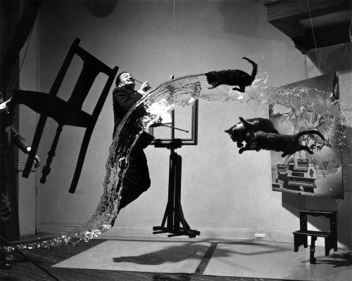 salvador dalí,sirrealizmas,1948,dalí atomicus,Philippe Halsman,juoda ir balta