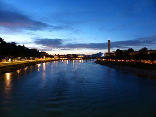 salzach river night photograph