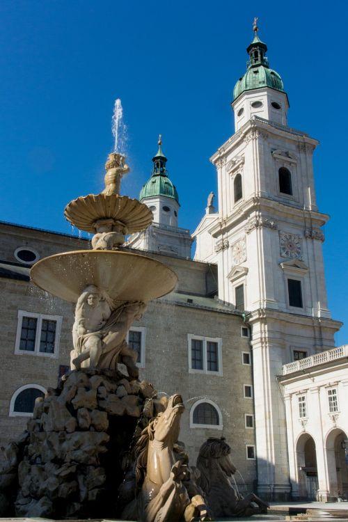 salzburg residence fountain residenzplatz