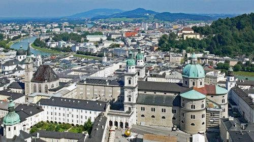 salzburg from the castle hill old town dom