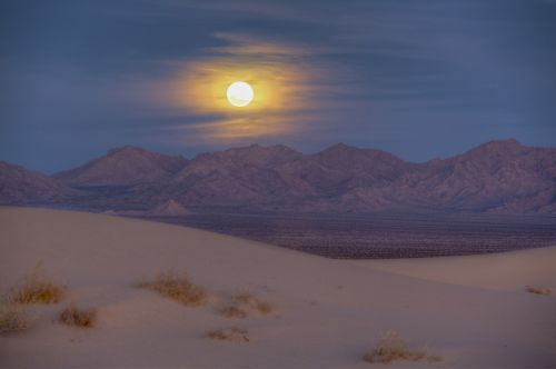 sand dunes mountains moon rise