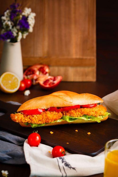 sandwich sandwich with schnitzel breakfast