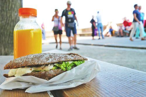 sandwich bank orange juice