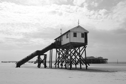 sankt peter ording  beach  stilt houses