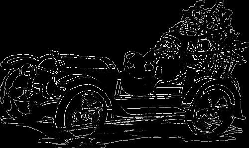 santa driving car
