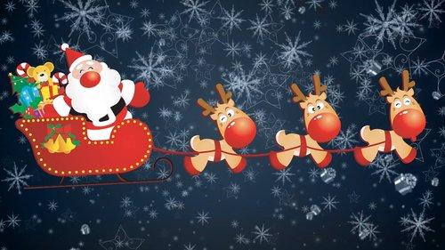 santa claus  reindeer  bobsled
