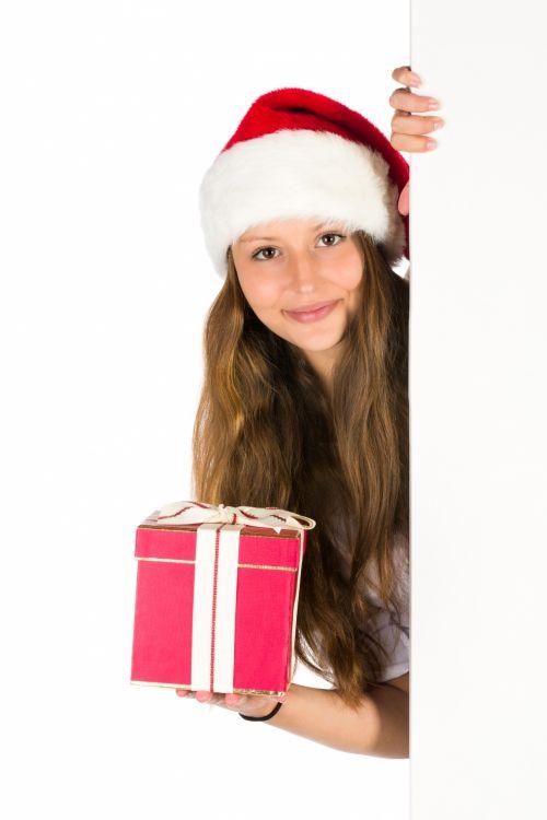 Santa Girl And Blank Board