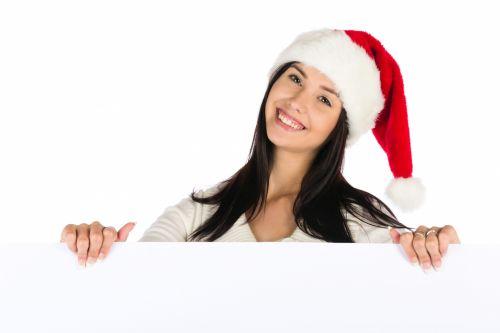 Santa Girl With A Blank Board