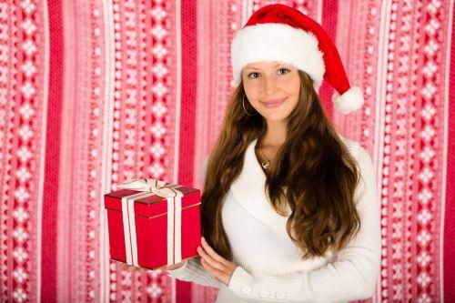 Santa Girl With A Christmas Gift