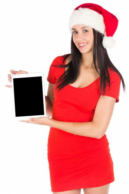 Santa Girl With A Tablet
