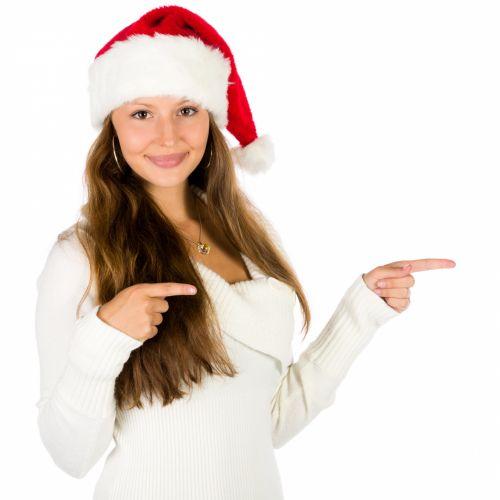 Santa Woman Pointing