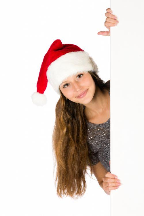 Santa Woman With A Blank Board