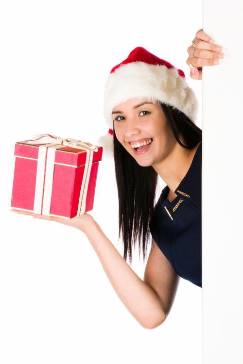 Santa Woman With Blank Board