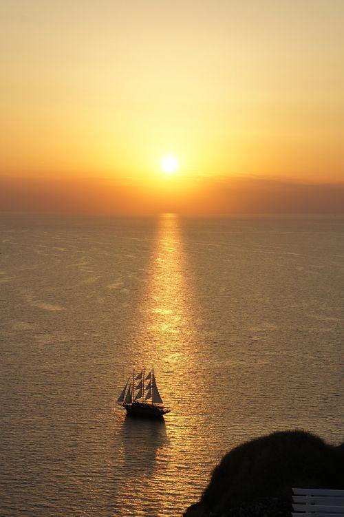 santorini sunset ship