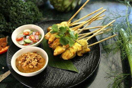 satay chicken  peanut sauce  thai food