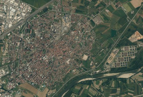 satellite photos small city old town