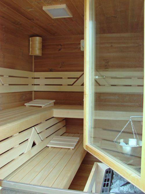 sauna window wood