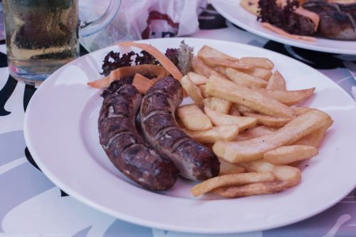 sausage bratwurst french fries