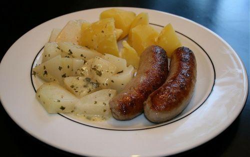 sausage kohlrabi vegetables food