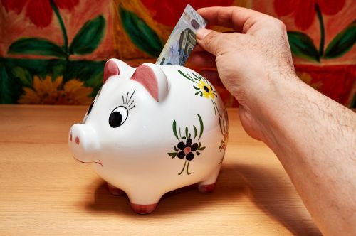 savings piggy bank hand