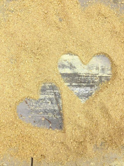 sawdust hearts wooden