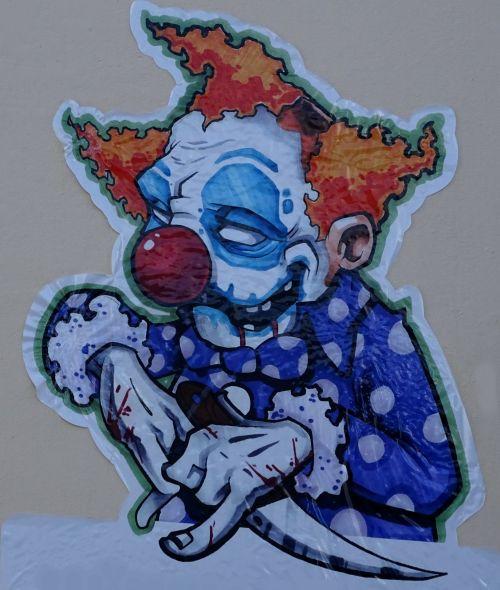Scary Evil Clown On A Building