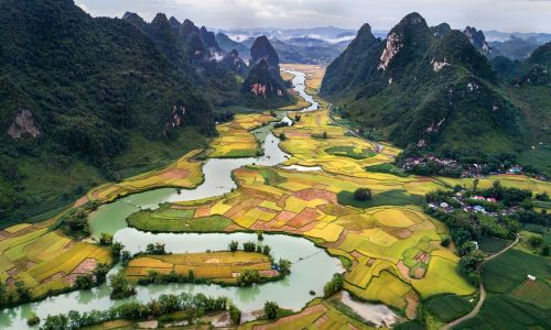 scenery style nam a perspective cao bang vietnam