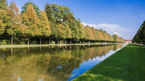 schlossgarten autumn colours water reflection