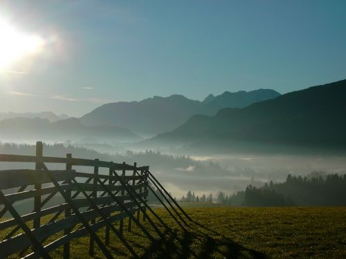 schnake height nesselwang in the haze mountain panorama