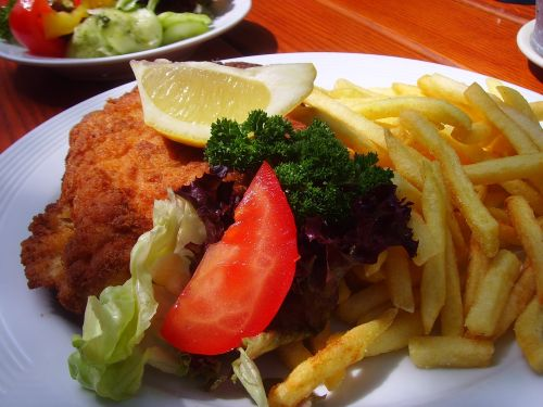 schnitzel french french fries