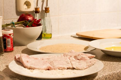 schnitzel cook breading
