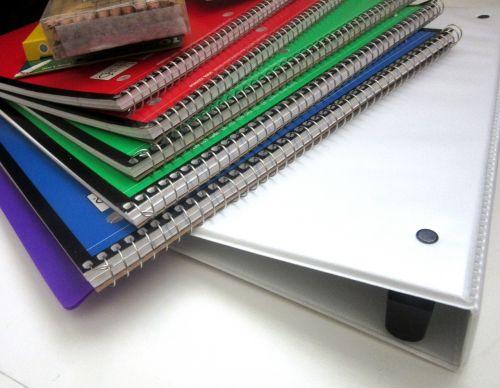 school supplies spirals pencils