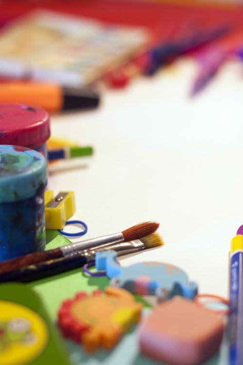 school supplies paintings plastic