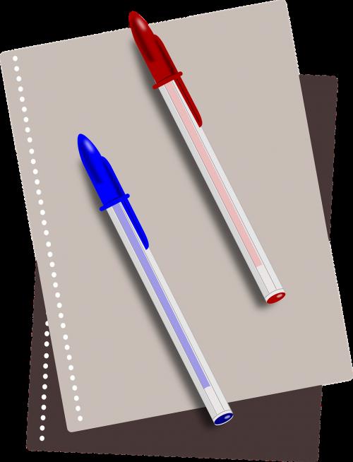 school supplies pens notebook
